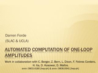 Automated Computation of One-Loop Amplitudes