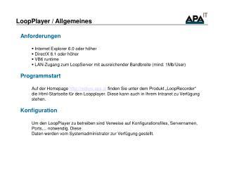 LoopPlayer / Allgemeines