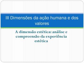III Dimensões da ação humana e dos valores