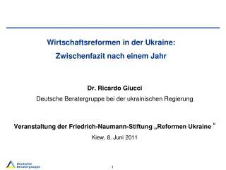 Wirtschaftsreformen in der Ukraine:  Zwischenfazit nach einem Jahr