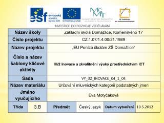 Anotace: Materiál je určen pro výuku českého jazyka ve 3. ročníku ZŠ