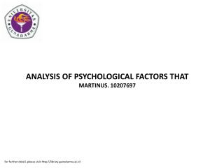 ANALYSIS OF PSYCHOLOGICAL FACTORS THAT MARTINUS. 10207697