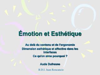 Émotion et Esthétique