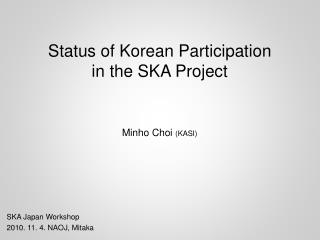 Status of Korean Participation in the SKA Project
