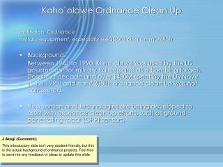 Kaho`olawe Ordnance Clean Up