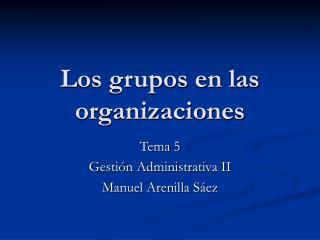 Los grupos en las  organizaciones