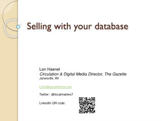 Selling with your database