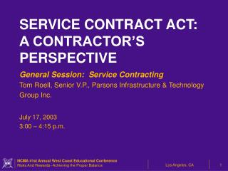 General Session:  Service Contracting