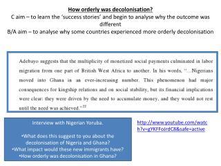Interview with Nigerian Yoruba.