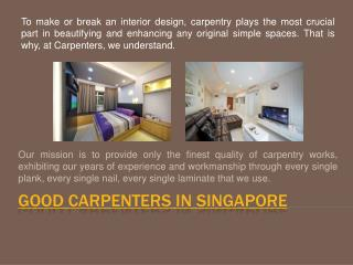 Hire Good Carpenters In Singapore