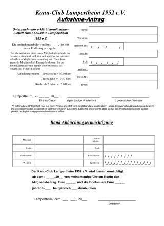 Kanu-Club Lampertheim 1952 e.V. Aufnahme-Antrag
