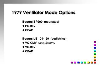 1979 Ventilator Mode Options