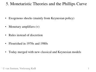 5. Monetaristic Theories and the Phillips Curve