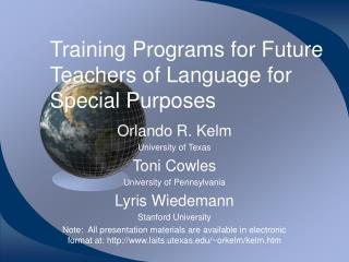 Training Programs for Future Teachers of Language for Special Purposes