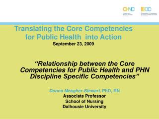 Translating the Core Competencies  for Public Health  into Action September 23, 2009