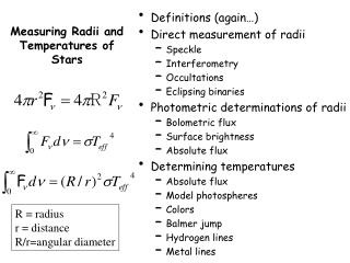 Measuring Radii and Temperatures of Stars