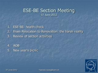 ESE-BE Section Meeting 07 June 2012