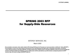 SPRING 2003 RFP for Supply-Side Resources