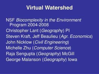 Virtual Watershed