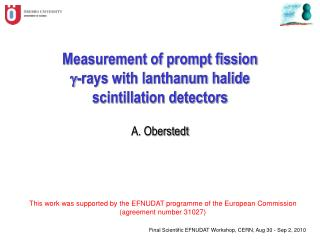Measurement of prompt fission g -rays with lanthanum halide scintillation detectors A. Oberstedt
