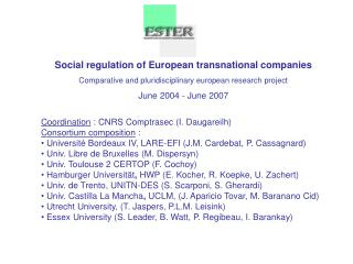Social regulation of European transnational companies