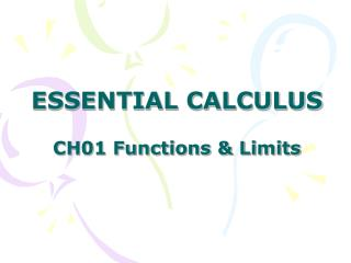 ESSENTIAL CALCULUS CH01 Functions & Limits