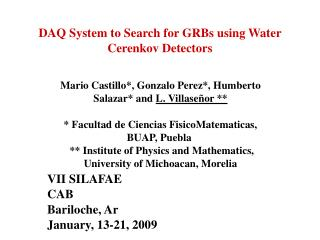 DAQ System to Search for GRBs using Water Cerenkov Detectors