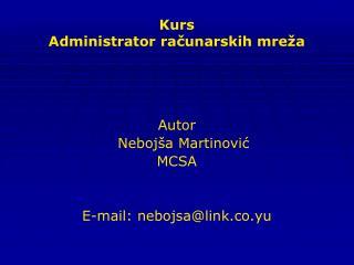 Kurs  Administrator računarskih mreža