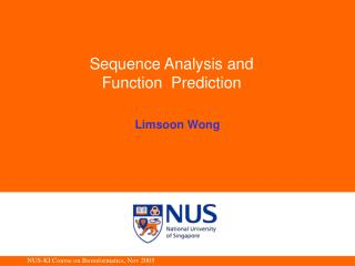 Sequence Analysis and  Function  Prediction