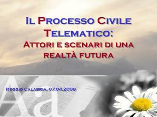 Il  P rocesso  C ivile  T elematico: Attori e scenari di una realtà futura