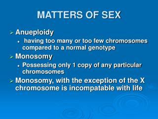 MATTERS OF SEX