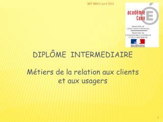 DIPLÔME  INTERMEDIAIRE Métiers de la relation aux clients et aux usagers