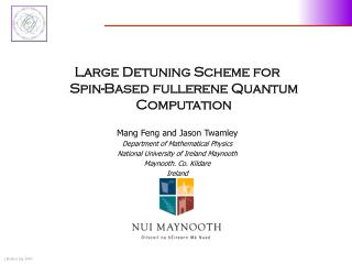 Large Detuning Scheme for  Spin-Based fullerene Quantum Computation Mang Feng and Jason Twamley