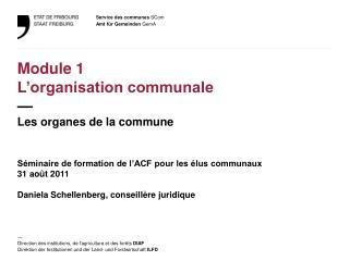 Module 1 L'organisation communale — Les organes de la commune