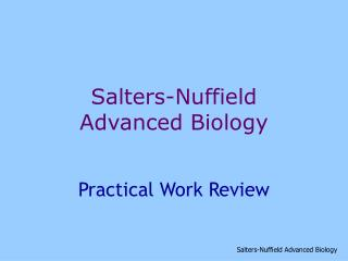 Salters-Nuffield  Advanced Biology