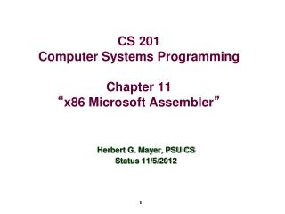 "CS 201 Computer Systems Programming Chapter 11 "" x86 Microsoft Assembler """