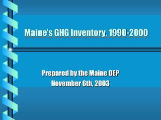 Maine's GHG Inventory, 1990-2000