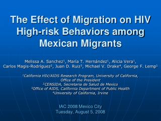The Effect of Migration on HIV High-risk Behaviors among Mexican Migrants