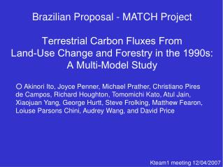 Brazilian Proposal - MATCH Project Terrestrial Carbon Fluxes From