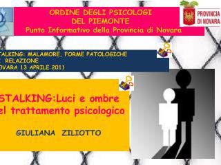 ORDINE DEGLI PSICOLOGI DEL PIEMONTE   Punto Informativo della Provincia di Novara
