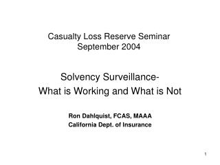 Casualty Loss Reserve Seminar  September 2004