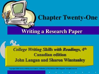 Chapter Twenty-One Writing a Research Paper