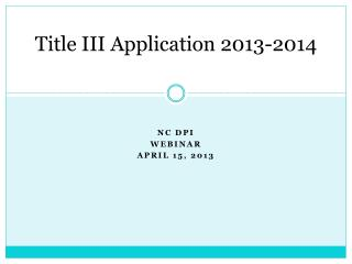Title III Application 2013-2014