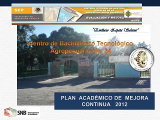 PLAN  ACADÉMICO DE  MEJORA  CONTINUA   2012