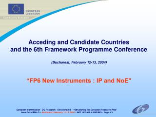 Acceding and Candidate Countries and the 6th Framework Programme Conference