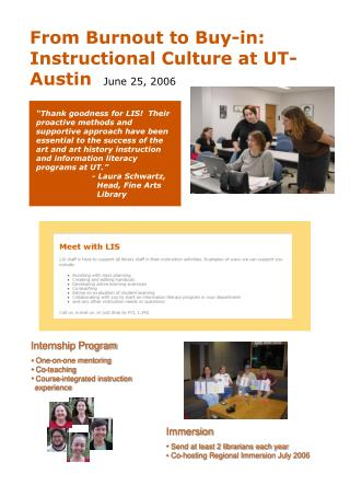 Internship Program  One-on-one mentoring  Co-teaching  Course-integrated instruction   experience