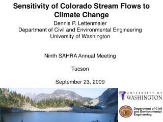 Sensitivity of Colorado Stream Flows to Climate Change