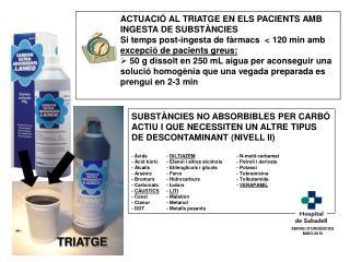 ACTUACIÓ AL TRIATGE EN ELS PACIENTS AMB INGESTA DE SUBSTÀNCIES