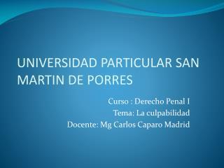 UNIVERSIDAD PARTICULAR SAN MARTIN DE PORRES