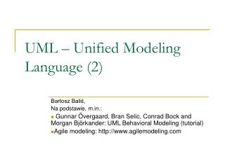 UML – Unified Modeling Language (2)